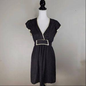 Betsey Johnson Silk Black & Cream Polka Dot Dress